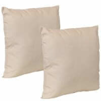 Sunnydaze 2 Outdoor Decorative Throw Pillows - 17 x 17-Inch - Beige