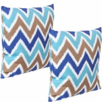 Sunnydaze 2 Outdoor Decorative Throw Pillows - 17 x 17-Inch - Chevron Bliss