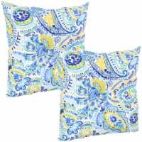 Sunnydaze 2 Outdoor Tufted Back Cushions - 19 x 19-Inch - Aqua Paisley