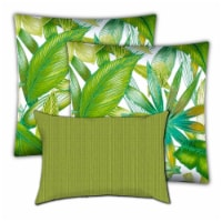 Joita Calypso Palm Polyester Outdoor Pillows in Green (Set of 3) - 1