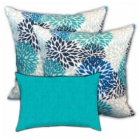 Joita Hawaii Water Polyester Outdoor Pillows in Blue (Set of 3) - 1