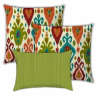 Joita Hills and Valleys Polyester Outdoor Pillows in Green (Set of 3) - 1