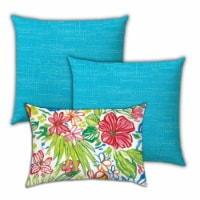 Joita Waterfall Foliage Polyester Outdoor Pillows in Blue (Set of 3) - 1
