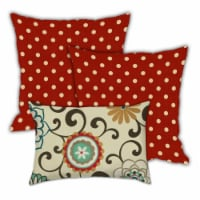 Joita Carefree Days Polyester Outdoor Pillows in Red (Set of 3) - 1