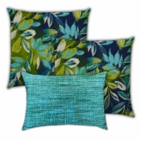 Joita Catfish Springs Polyester Zippered Pillow Covers in Blue (Set of 3) - 1