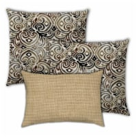 Joita Chocolate Delight Polyester Zippered Pillow Covers in Brown (Set of 3) - 1