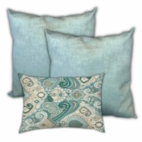 Joita Cashmere Sweaters Polyester Zippered Pillow Covers in Blue (Set of 3) - 1