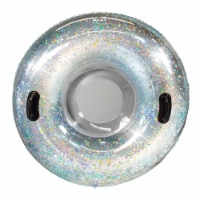 SnowCandy Inflatable Glitter Inflatable Snow Sled - Silver - 42 in