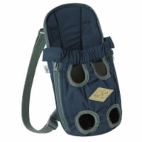 'Wiggle-Sack' Fashion Designer Front and Backpack Dog Carrier - Medium / Navy - 1