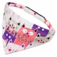 'Head-Popper' Fashion Designer Printed Velcro Dog Bandana - Small / Pink - 1