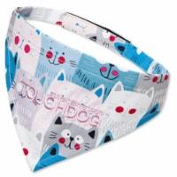 'Head-Popper' Fashion Designer Printed Velcro Dog Bandana - Large / Blue - 1