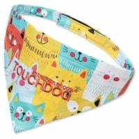 'Head-Popper' Fashion Designer Printed Velcro Dog Bandana - Medium / Yellow - 1