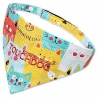 'Head-Popper' Fashion Designer Printed Velcro Dog Bandana - Large / Yellow - 1