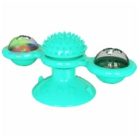 Pet Life  'Windmill' Rotating Suction Cup Spinning Cat Toy - One Size / Blue