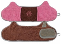 2-in-1 Hand-Inserted Microfiber Pet Grooming Towel and Brush - One Size / Pink