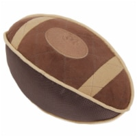 Durable Oxford Nylon and Mesh Plush Squeaky Football Dog Toy - One Size / Brown