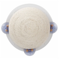 Sisal Rope and Toy Suction Cup Circular Cat Scratcher - One Size / Beige