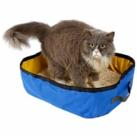 Travel Folding Waterproof Kitty Cat Litterbox and Bath - One Size / Blue