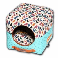 Chirpin-Avery Squared 2-in-1 Collapsible Dog House Bed - One Size / Blue - 1