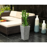 Luxen Home 24in. H Tapered Square Gray MgO Planter