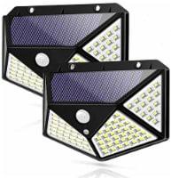 Solar Lights Outdoor 100 LED Motion Sensor Security Wall Night Light 270 Wide Angel 2-Pks
