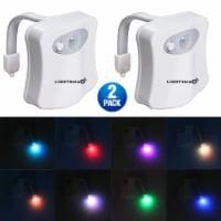 TOILET LED NIGHT LIGHT MOTION SENSOR ACTIVATE 7 COLOR CHANGING - 2 PKS