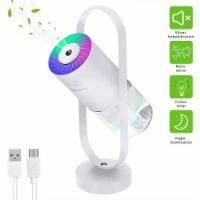 Portable Mini Humidifier 200ml Ultrasonic Cool Mist Humidifier 7 Colors Night Light- white