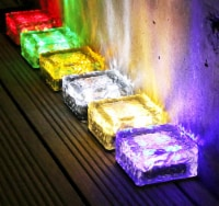 4X Solar Power LED Color Changing Ice Cube Brick for lawn garden landscape yard ground garden - 4