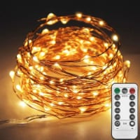 Copper String Lights, Fairy String Lights 8 Modes Battery Powered with Remote Control LED Dec