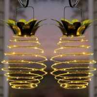 60 LED Hanging Solar Pineapple String Lights Waterproof Wall Lamp Fairy Night Lights -Warm - 2 units