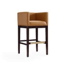 Manhattan Comfort Kingsley 38 in. Camel and Dark Walnut Beech Wood Barstool (Set of 3)