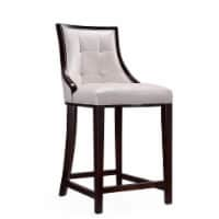 Fifth Ave 39.5 in. Pearl White and Walnut Beech Wood Counter Height Bar Stool (Set of 3)