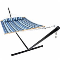 Sunnydaze Quilted Fabric Hammock Bed with 15-Foot Stand - Misty Beach
