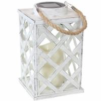 Sunnydaze Modern Crosshatch Outdoor Solar LED Candle Lantern - 9-Inch - White