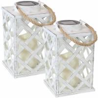 Sunnydaze Modern Crosshatch Solar LED Candle Lantern - 2-Pack - 9-Inch - White