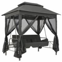 vidaXL Outdoor Convertible Swing Bench with Canopy Anthracite 86.6 x63 x94.5  Steel - 220x160x240 cm
