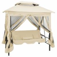 vidaXL Gazebo Convertible Swing Bench Cream White - 220x160x240 cm