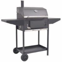 vidaXL BBQ Charcoal Smoker with Bottom Shelf Black - 127x64x125 cm