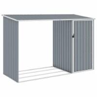 vidaXL Garden Firewood Shed Gray 96.5 x38.6 x62.6  Galvanized Steel - 1 unit/245x98x159 cm