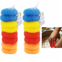 16 X Round Sponge Scouring Wash Pads Kitchen Dishes Cleaner Scour Scrub Cleaning - 1