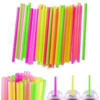100 Pcs Neon Drinking Straws Smoothie Milkshake Boba Bubble Tea Plastic Jumbo - 1