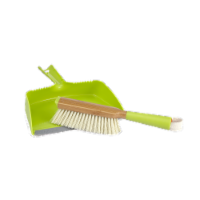 Full Circle Cleaning Brush and Dustpan Set - Green