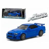 Greenlight 86219 Brians 2002 Nissan Skyline GT-R Blue Fast & Furious Movie 2009 1-43 Diecast - 1