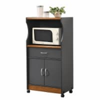 Hodedah Wheeled Microwave Island Cart with Drawer and Cabinet Storage, Grey/Oak - 1 Unit