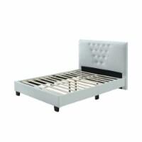Hodedah Full Platform Bed with Upholstered Headboard and Wooden Frame in White - 1
