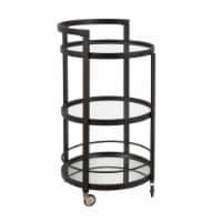 Henn & Hart BC0105 Hause Round Blackened Bronze Bar Cart with Mirrored Shelf