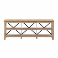 Henn&Hart 58  Open Back TV Stand in White Oak Wood with Metal Black Accents - 1