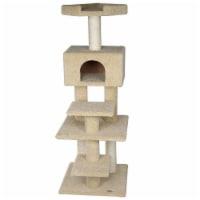 Go Pet Club LP-817 62 in. Premium Carpeted Cat Tree Furniture, Beige - 1