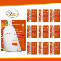 Natural Solution Facial Mask, Blood Orange & Vitamin C, Silk Mask with Pink Salt   Pack of 10