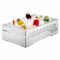 Rosseto SM112 7 in. Iris Multi-Chef Chafing Base, Stamped Brushed Stainless Steel & Acrylic T - 1